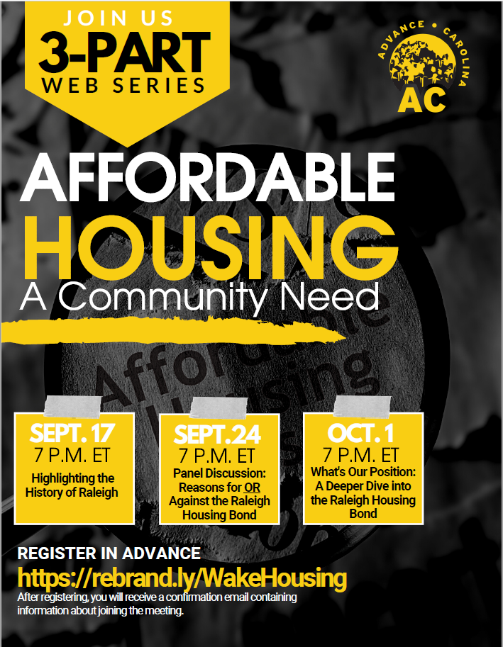 Wake County Housing Justice Coalition Hosts an Affordable Housing Web Series