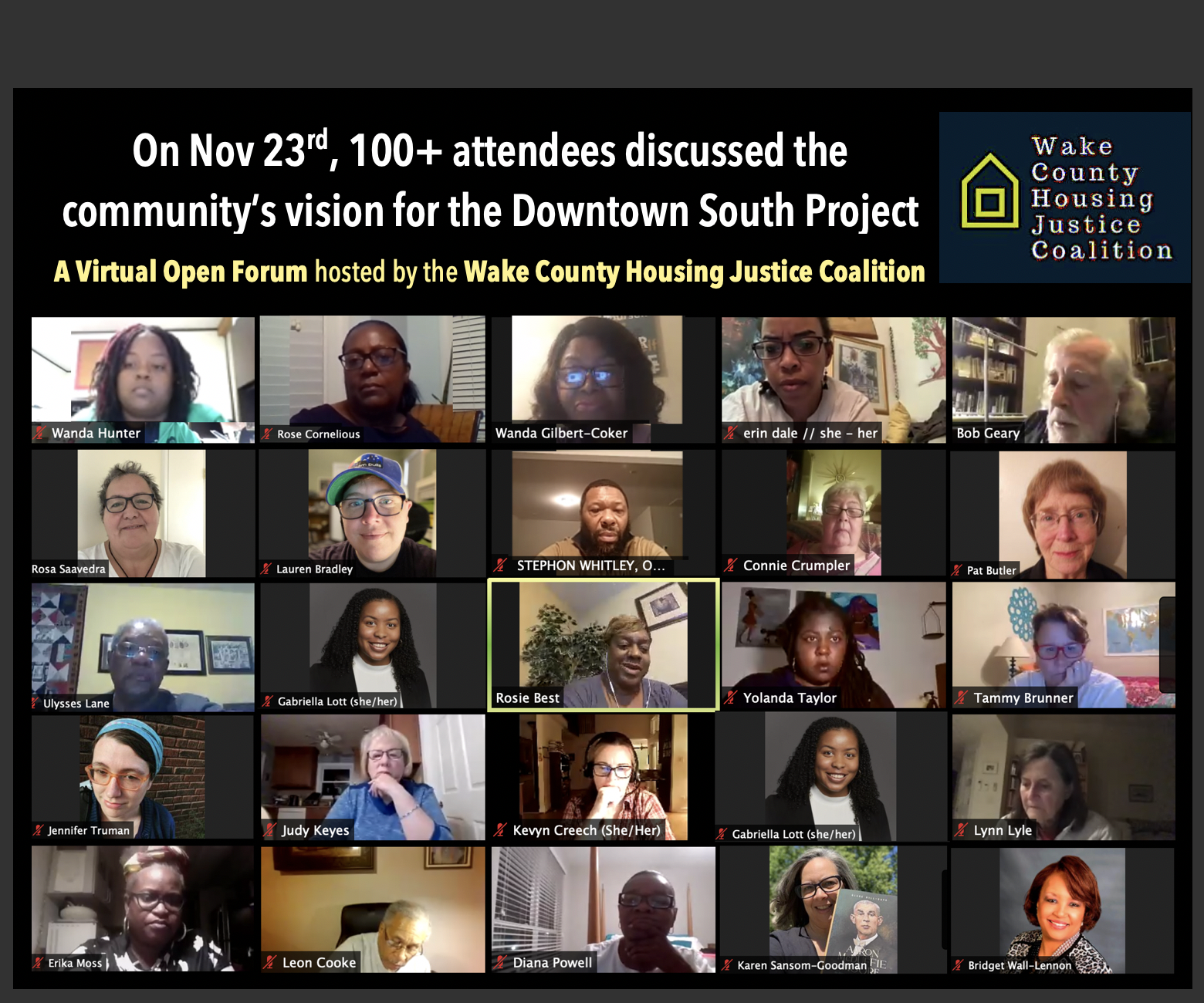 The Wake County Housing Justice Coalition gives voice to Raleigh residents threatened by a perfect storm of pandemic-magnified racial, environmental and economic injustices