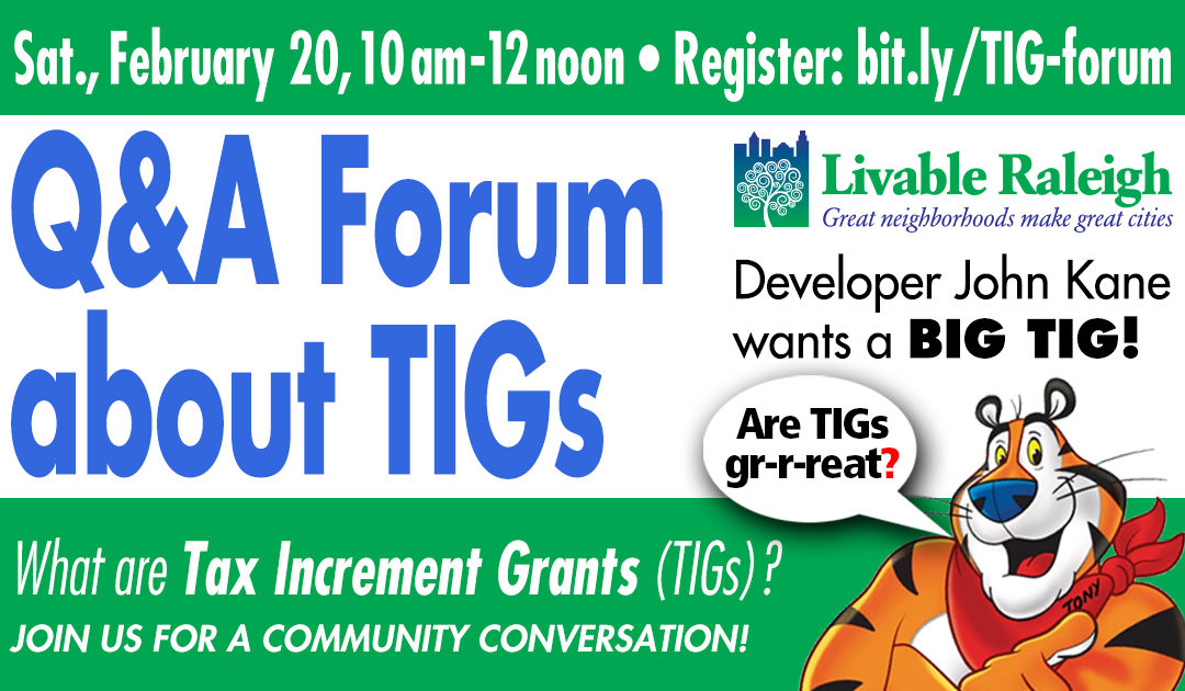Tax Increment Grant (TIG) – A Community Conversation – Video and Slides are here !