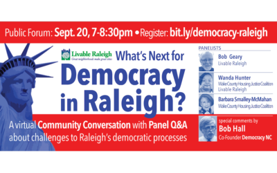What's Next for Democracy in Raleigh – Video and Slides now available